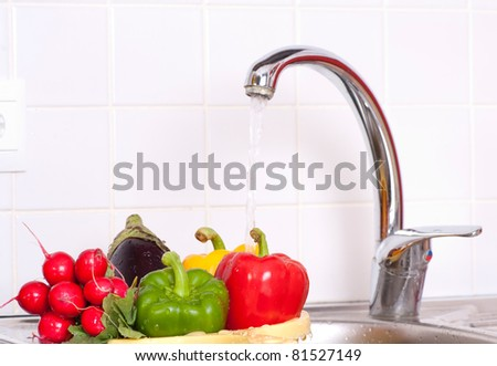 fresh vegetables in  the sink