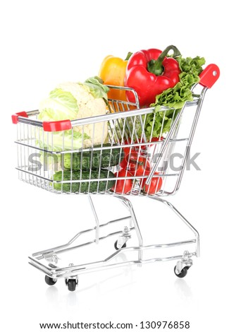 Fresh vegetables in trolley isolated on white