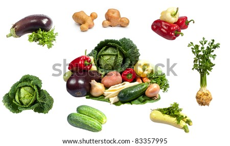 Fresh vegetables isolated on white background