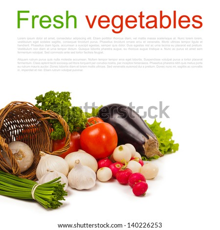 fresh vegetables isolated over white and place for text