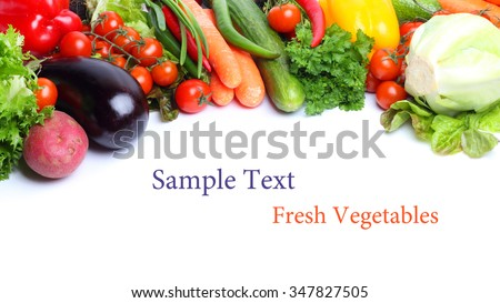 fresh vegetables isolated white background #347827505