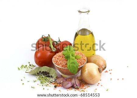 fresh vegetables, lentils, spices and olive oil