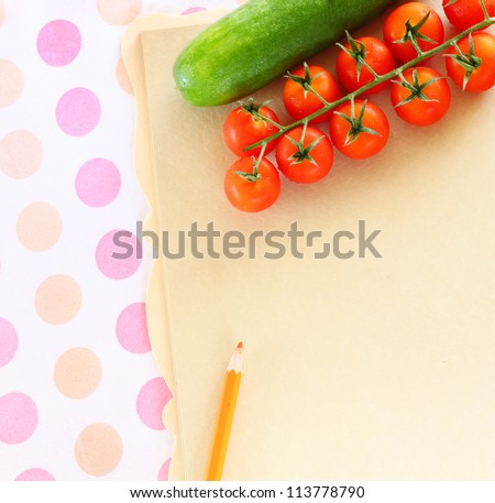 Fresh  Vegetables on a Wooden Background and Paper for Notes. Open Notebook and Fresh Vegetables Background. Diet .Space For  Text