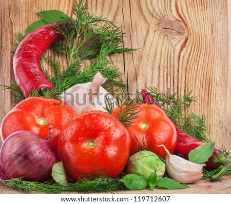 Fresh vegetables on a wooden background. Farmers Vegetable Market