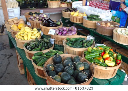 Fresh vegetables on display at a farmer's market