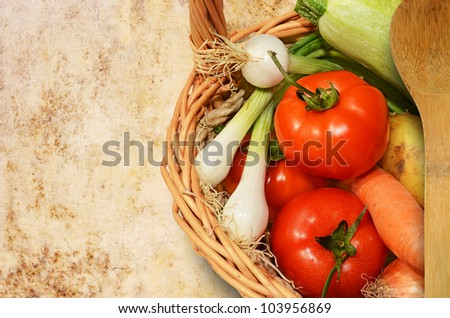 Fresh vegetables on grunge background