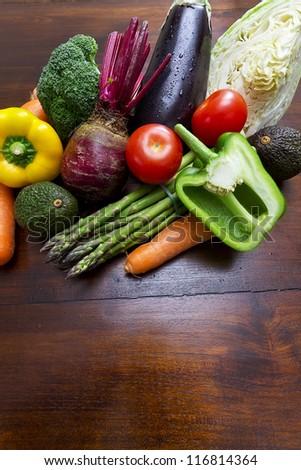 Fresh vegetables on kitchen table #116814364