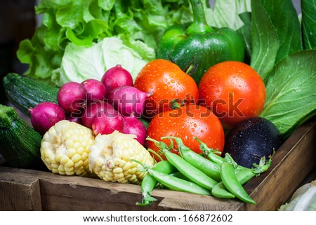 fresh vegetables on the sack cloth
