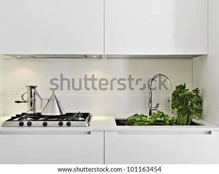 fresh vegetables on the steel sink in a modern white kitchen