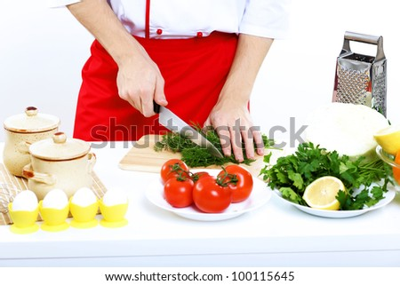 Fresh vegetables on the table and knife