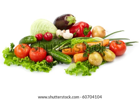 fresh vegetables on the white background #60704104