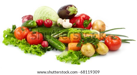fresh vegetables on the white background #68119309
