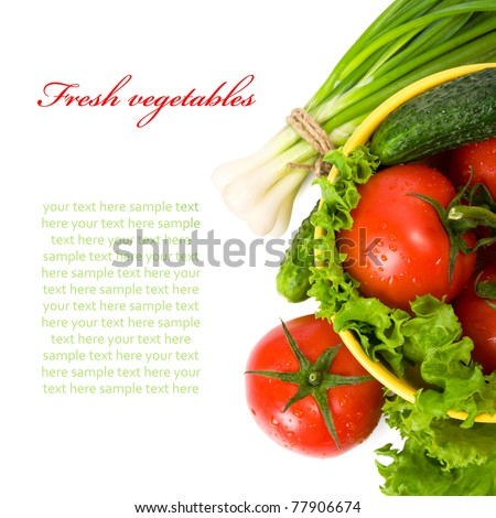 Fresh vegetables on the white with space for text. Top view.