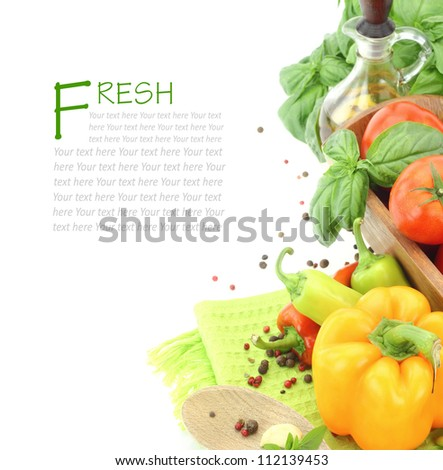 Fresh vegetables on white background with copy space - stock photo