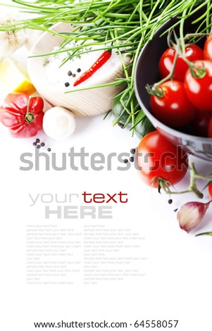 fresh vegetables on white with sample text