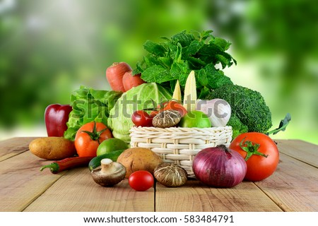 Fresh vegetables on wooden and blur background. #583484791