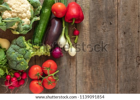 Fresh vegetables on wooden background. Top view, Copy space. #1139091854