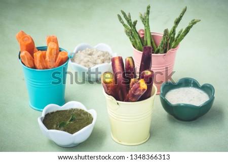 Fresh Vegetables Platter with Sauce Dip #1348366313