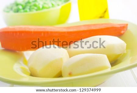 Fresh vegetables, raw potato and carrot