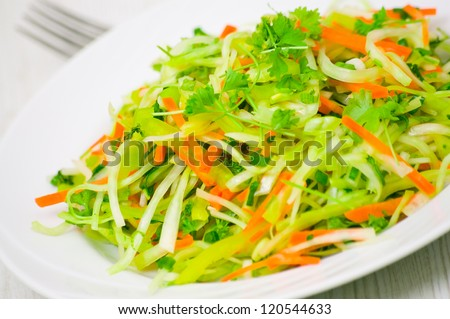 fresh vegetables salad with cabbage and carrot