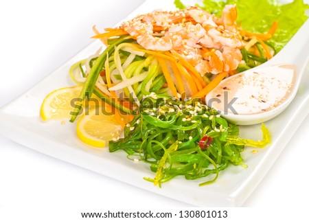 Fresh Vegetables Salad with Nuts Sauce, Chuka salad and shrimp