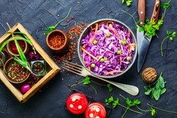 Fresh vegetables salad with purple cabbage.Coleslaw in a bowl
