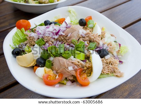 Fresh vegetables salat with tuna, tomatoes, olive and eggs in a bowl.