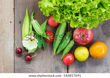 Fresh vegetables that good for the health, rustic wood background, Food and health concept, healthy eating and food background #546857695