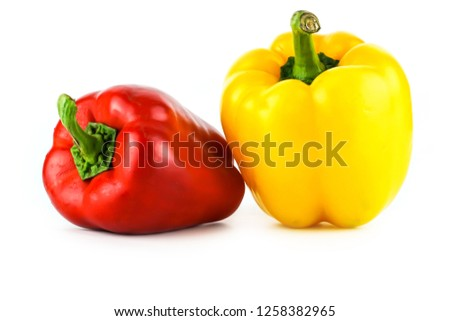 Fresh vegetables Three sweet Red, Yellow,  Peppers isolated on white background.