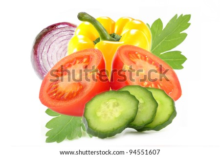Fresh vegetables. Tomato, Pepper,Cucumber and Onion isolated on white background.