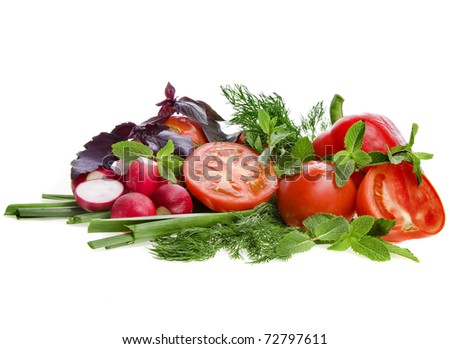 Fresh Vegetables with Herbs Isolated over white background
