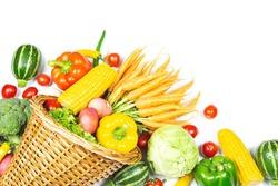Fresh vegetables with Horn of Plenty on white background
