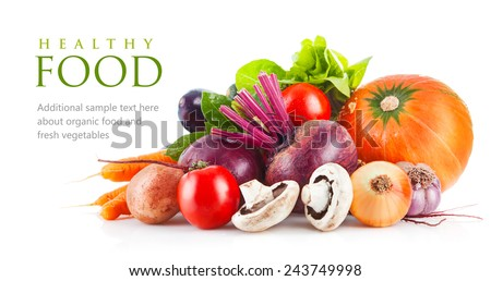 Fresh vegetables with leaf lettuce. Isolated on white background