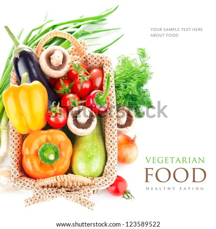 Fresh Vegetables With Leaves In The Basket Isolated On White Background