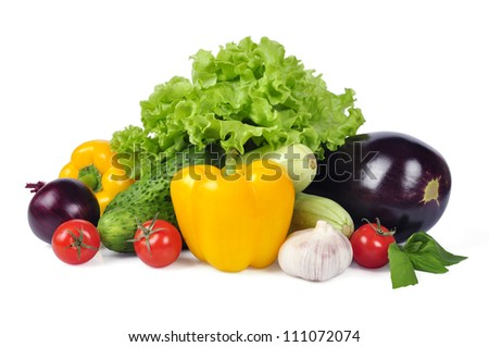 fresh vegetables with leaves isolated on white background