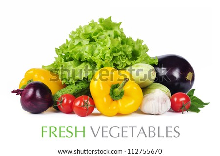 fresh vegetables with leaves isolated on white background. Clipping path included.