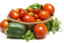 Fresh vegetables with white background