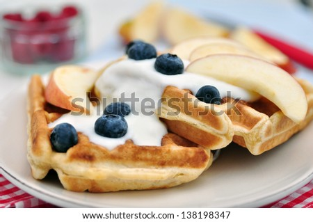 Fresh Waffles with Blueberries