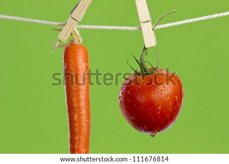 Fresh washed red ripe tomato and orange carrot hanging and drying on clothesline on green background.
