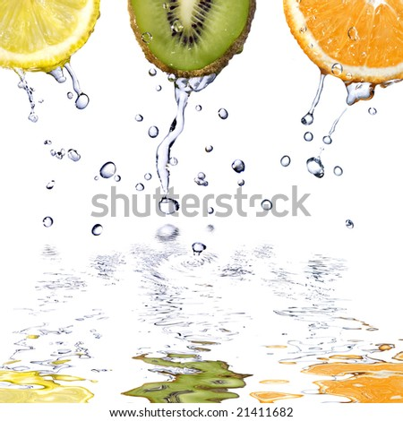 fresh water drops fruits isolated on white - stock photo