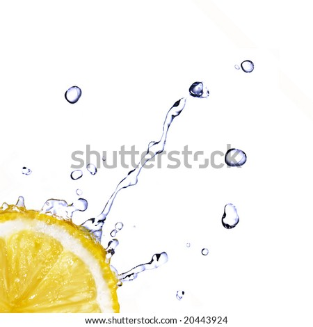fresh water drops on lemon isolated on white