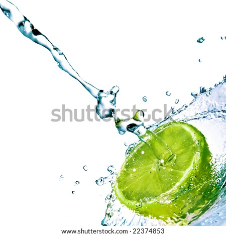 fresh water drops on lime isolated on white