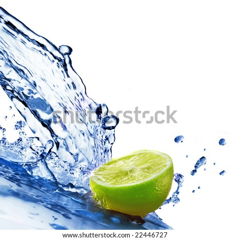 fresh water drops on lime isolated on white - stock photo