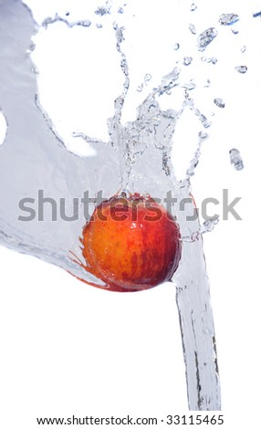 fresh water drops on  peach isolated on white
