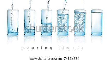 fresh water pouring in a glass on white background in sequence