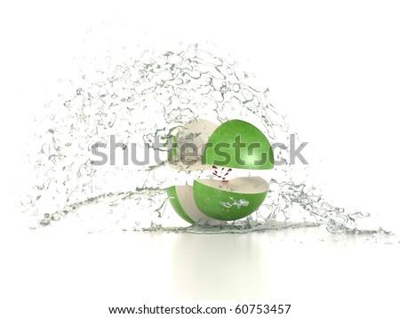 fresh water splash on green apple