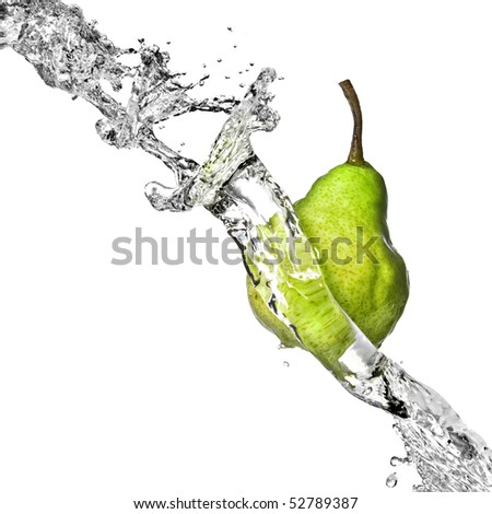 fresh water splash on green pear isolated on white