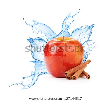 fresh water splash on red apple isolated on white