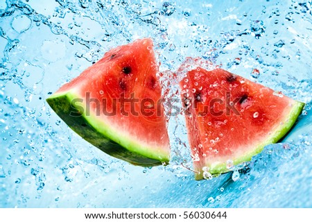 fresh water splash on red watermelon