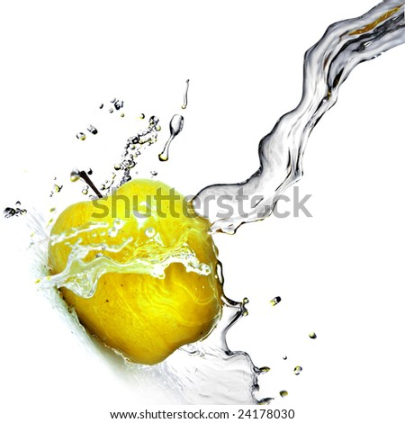 fresh water splash on yellow apple isolated on white